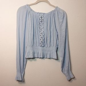 H&M Divided | 70's Style Light Blue Crop Top - 8